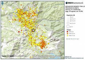 Jordskjelv og etterskjelv i Rieti-området august 2016. Her er det plottet inn registreringer for de første tre døgnene. Kartet er hentet fra Istituto Nazionale di Geofisica e Vulcanologia