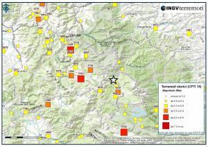 Historisk oversikt over jordskjelv i Rieti.området. Kartet er hentet fra Istituto Nazionale di Geofisica e Vulcanologia